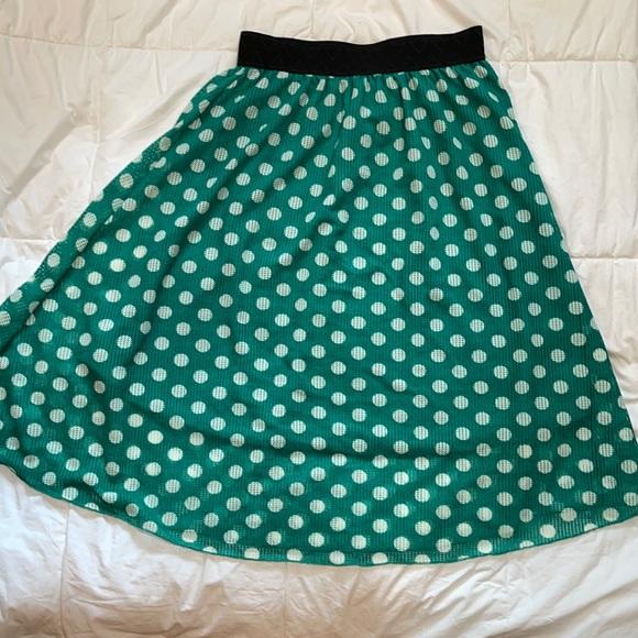 Lularoe Green and White Lola Skirt